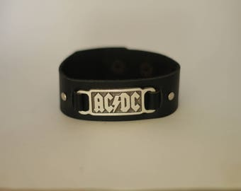 ACDC wristband 925 silver plated free shipping genuine leather