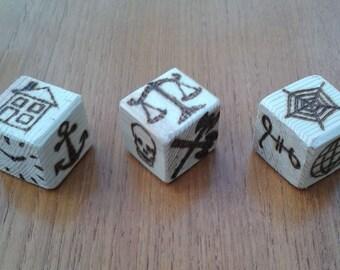 Handmade Wooden Fortune Telling Dice, Archetype, Symbols, Future, Halloween