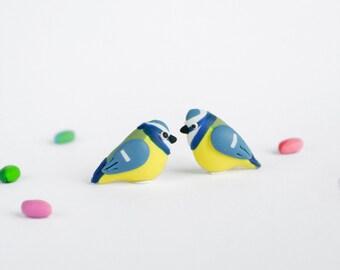 Blue Tit post earrings - Spring jewelry - Nature inspired - British garden birds - Gift for women
