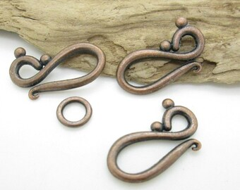 Antiqued Copper S-Clasp, Rustic Clasp, Necklace Clasp 12x20.5mm (5)