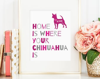Chihuahua art, Home is where your Chihuahua is wall art, dog art print, Personalize with name, Chihuahua art print for dog lovers, dog gifts