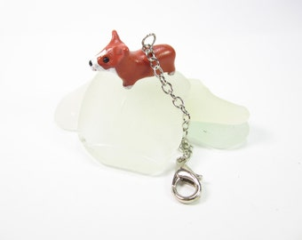 Corgi Dog Planner Charm, Planner accessories, animal charm, dog lover corgi gifts for her women, bag zipper pull polymer clay notebook charm