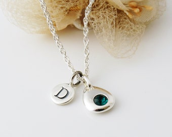 May Birthstone Necklace, Silver Initial Necklace, Birthstone Pendant, May Birthday Gift