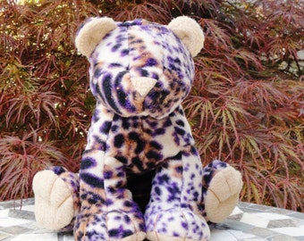 Plush Stuffed Leopard/ Cougar Custom Made to Order - You design - 5 colorful prints to choose from