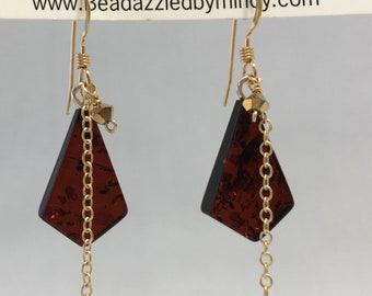 Kite shaped Bordeaux Amber and Gold Earrings