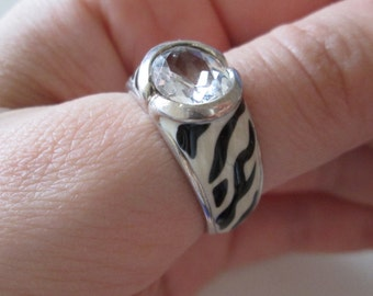 Canada 925 Sterling Silver Vintage Clear CZ Zebra Black and White Ring, size 10