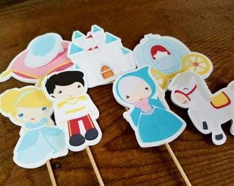 Cinderella & Friends Party - Set of 12 Cinderella and Friends Double Sided Assorted Cupcake Toppers by The Birthday House