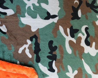 Minky Blanket Camo Print Minky with Orange Dimple Dot Minky Backing - Great Gift for a Toddler or Child 36 x 42