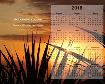 "CALENDAR Template 2018, Photoshop Overlay, PSD & PNG Files, 8""x10"" Photo Calendar Template, Photoshop Editable Template Calendar Digital"