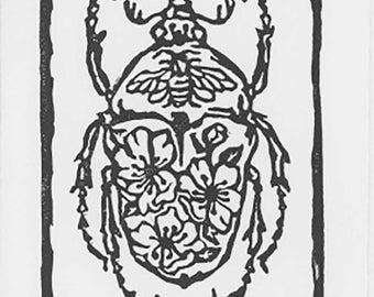 "Flower Beetle Print, Handmade Linocut Print, 4""x 5"""