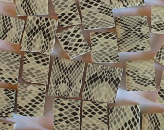 Ceramic Mosaic Tiles - Snakeskin Pattern Black Grey Tan Animal Mosaic Tile Pieces - 40 Pieces - For Mosaic Art / Mixed Media Art/Jewelry