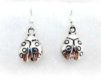Ladybug Charm Pierced Earrings on 925 Silver Wires - Ladybug Charm Dangle Earrings - Charm Jewelry Gift