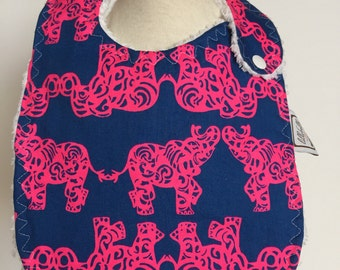 indigo blue pack your trunks ~ baby bib ~ lilly pulitzer ~ chic couture ~ boutique quality ~ baby bib from lillybelle designs