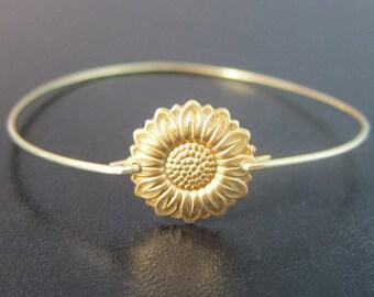 Sunflower Bracelet, Sunflower Jewelry, Gold, Sunflower Bangle, Sun Flower Jewelry, Sun Flower Bracelet, Sun Flower Jewlery