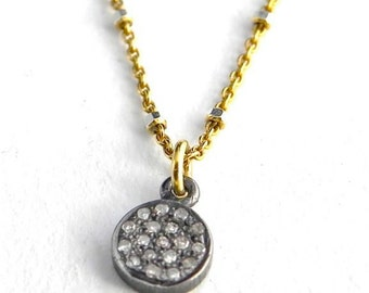 Tiny Pave Diamond Disc pendant/genuine Diamond Charm Necklace,14 K Gold fill Chain, layering Delicate feminine, Mothers Day gift