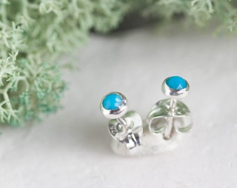 Turquoise stud earrings, December Birthstone, 3mm or 6mm, sterling silver or 14k gold filled