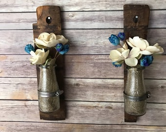 repurposed antique barrel panels, wall sconces with glass milk jars