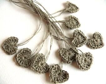 Crochet hearts tiny applique, 15 mini hearts, embellishments, Valentines, small wedding favor, scrapbooking,wedding decorations, cards