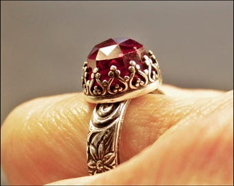 Renaissance Style Ruby Ring, Sterling Silver Ruby Ring,  Size 6 Ring, Ornate Gemstone Ring, Ruby Engagement Ring, July Birthstone Ring