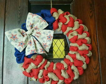 American Flag, Fourth of July Wreath, 4th of July, Patrioric, Burlap Flag Wreath, American Flag Wreath, 4th of July Wreath, Military, Stars