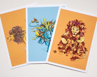 Andrea's Lions Prints - Three 5x7 Full Colour, Signed Children's Room Prints