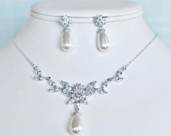 Handmade Vintage Inspired Fancy Shapes Cubic Zirconia CZ and Teardrop Pearl Necklace and Earring Set, Bridal, Wedding (Pearl-835)