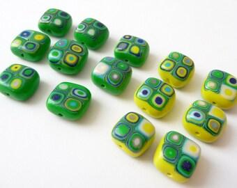 Beads Green Boho, Boho Beads Polymer, Polymer Clay Beads, Unique Polymer Beads, Beads Yellow Boho, Green Beads Yellow, Make Your Own