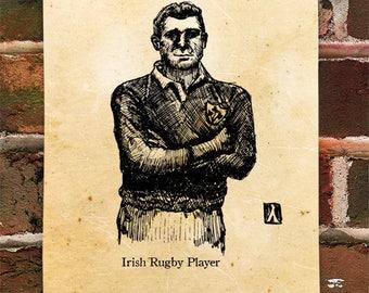 "KillerBeeMoto: Limited Hand Drawn Print of ""Irish Rugby Player"" Print 1 of 100"