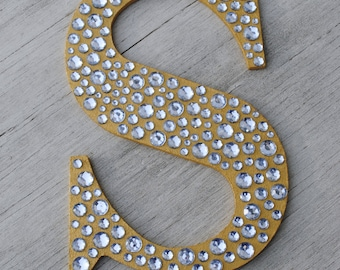 """9"""" Sparkle Gold Bling Decorative Wall Letters, Wedding Decor, Girls Bedroom Decor, Nursery Wall Letters"""