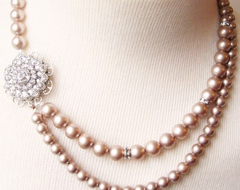 Champagne Bridal Necklace, Champagne Pearl Wedding Jewelry, Art Deco Bridal Necklace, Vintage Bridal Jewelry, Statement Necklace, VICTORIA