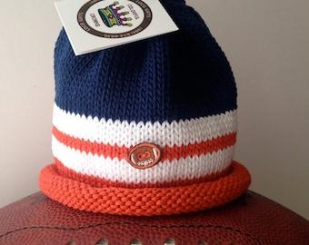 Denver Broncos Knitted Newborn Baby Hat, Orange, Navy & White, Football Fans~Best Baby Gift, Hand-Knit, Cotton