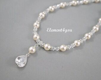 Bridal necklace, Wedding jewelry, Ivory pearl necklace, Swarovski cream white pearl, CZ pendant drop, Silver bridal Y necklace, Handmade.