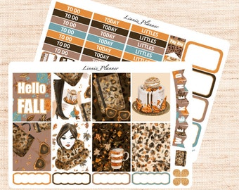 Fall Fashion Little Weekly Set (matte planner sticker, fits perfect in Erin Condren Life Planner Vertical)