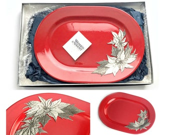 Wendell August Tray, Red Poinsettia Wendell August Tray, Boxed Red Christmas Wendell August Tray, Ceramic and Pewter Waechtersbach Tray