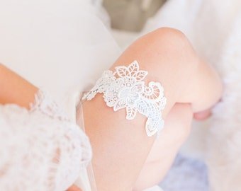 Read to Ship SALE - Something Blue - Wedding Garter, White Lace, Blue lace band, Bridal Shower Gift, Lingerie