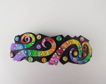 Polymer Clay Barrette. Beautiful OOAK Barrette for Women and Girls. This Rainbow Barrette is an Elegant Barrette for Hair.