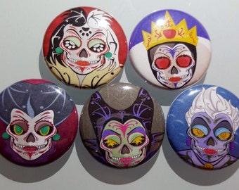 """Disney Villians skull pin buttons 1"""""""