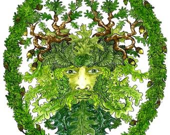 OakMan GreenMan Print Pagan Fantasy Art Celtic Nature Mythology Oak Leaves Acorns Altar Art Pen and Ink Watercolor Illustration