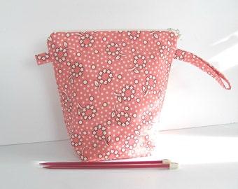 Coin tricot sac, support projet sac à tricoter rose Posies pochette à fermeture éclair