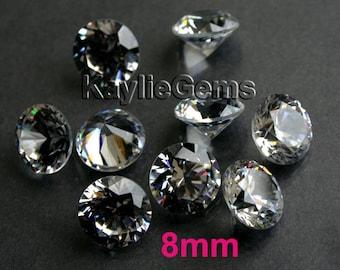 AAAAA 8mm Round Cubic Zirconia CZ Loose Stone Diamond Brilliant Cut - Diamond Clear - 4pcs