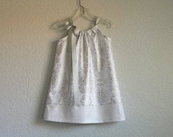 Girls Silver and White Pillowcase Dress - Metallic Silver on White - Silver Damask Party Dress - Size 12m, 18m, 2T, 3T, 4T, 5, 6, 8, or 10