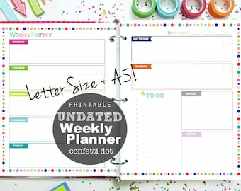 UNDATED Weekly Planner Printable, Confetti Dot - INSTANT DOWNLOAD - A5 and Letter Size
