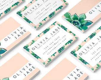 Succulent Business Card // Floral Business Card // Modern Business Card // Cute Business Card // 20% off