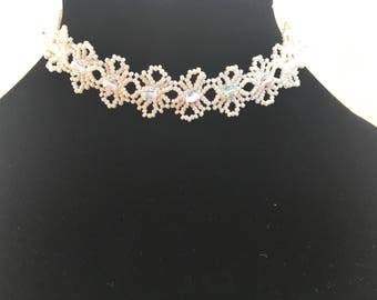 Beautiful Beaded Floral Choker, Bridal Jewellery, Bridal Choker Necklace, Crystal and Seed Bead Choker, Wedding Jewellery, Bridesmaid Choker