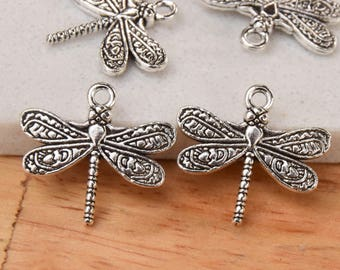 20 or 50 Double Sided Dragonfly Charms for Jewelry Projects. 20mmx21mmx2mm  Antique Silver Plated Pewter Dragonfly Charm with 2mm Hole size.