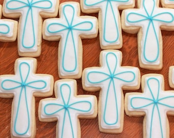 Cross Cookies, Baby's Baptism, Baby's First Communion, Easter Cookies, Easter, Baptism, Communion, Baby Shower, Baby Girl, Baby Boy