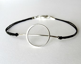 Geometric bracelet, Circle Moon bracelet, sterling and linen, Theta bracelet, ready to ship, graduation gift, gift for woman, gift for her