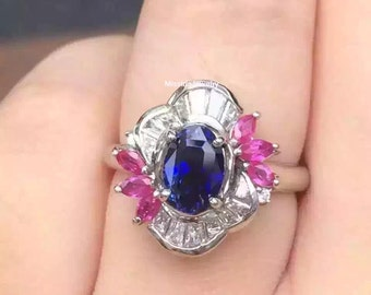 Sapphire and Ruby Engagement Ring