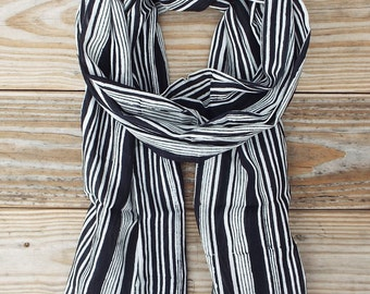 Fair Trade Black and White Cotton Scarf: Hand Block Printed