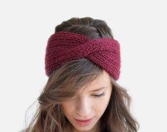Hand Knit Turban in Burgundy, Wool Winter Headband, Extra Chunky Turband, Womens Ear Warmer, Custom Color Turban